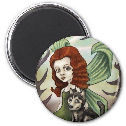 Chica de hadas del Redhead y perrito fornido Imanes De Nevera