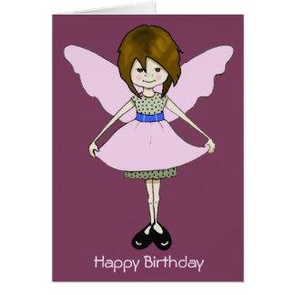 Chica de hadas lindo, travieso con las alas: tarjeta de felicitación