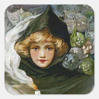 Chica de Halloween del vintage Pegatina Cuadrada