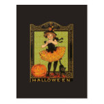 Chica de Halloween del vintage Tarjeta Postal