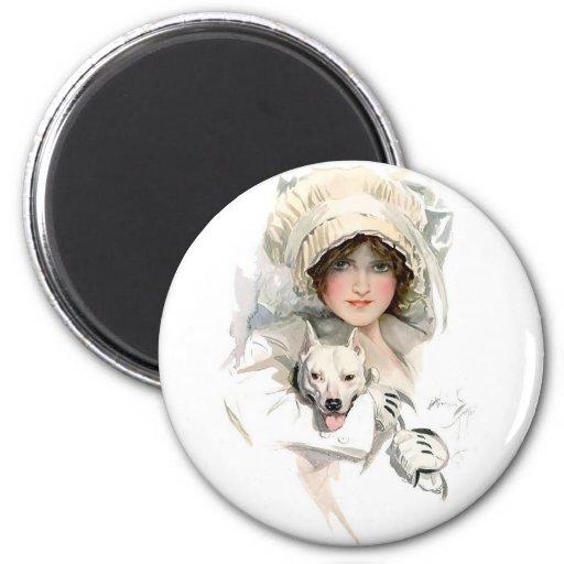 Chica de Harrison Fisher y su perro Imán Redondo 5 Cm