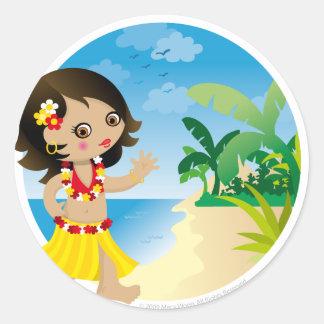Chica de Hawaii Pegatina Redonda