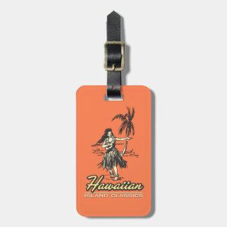 Chica de Hula de la isla hawaiana de Tradewinds Etiquetas De Equipaje