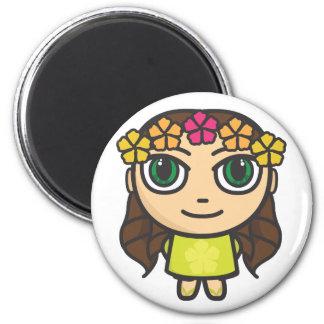 Chica de Hula en amarillo con el imán de los ojos