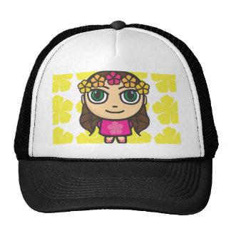 Chica de Hula en casquillo Rosado-Amarillo del fon Gorras