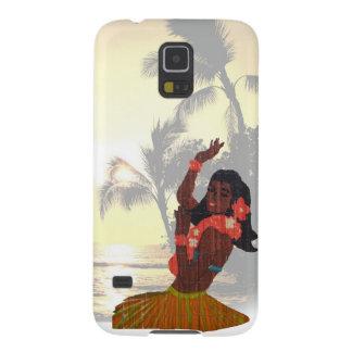 Chica de Hula en la playa de la palmera Fundas Para Galaxy S5