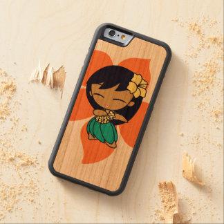 Chica de Hula hawaiano del hibisco de la papaya de Funda De iPhone 6 Bumper Cerezo