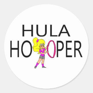 Chica de Hula Hooper Pegatina Redonda