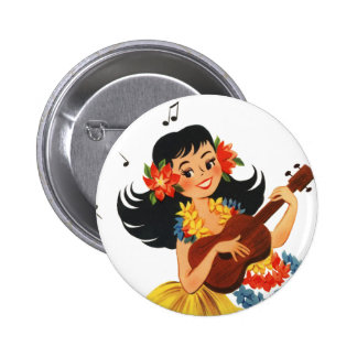 Chica de Hula Hula Pin Redondo De 2 Pulgadas