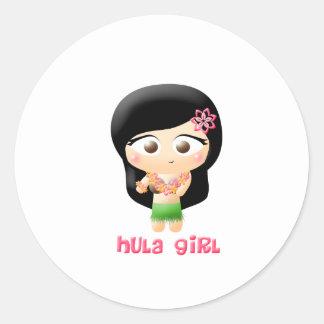 Chica de Hula Pegatina Redonda