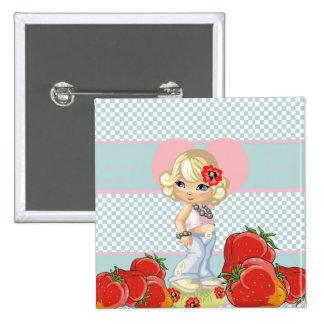Chica de Kawaii con las fresas muy lindas Pin Cuadrado