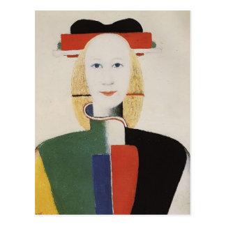 Chica de Kazimir Malevich- con un peine en su pelo Postales