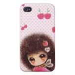Chica de la abeja con la fresa del kawaii iPhone 4/4S fundas