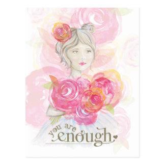 Chica de la acuarela con el _de las flores usted tarjetas postales