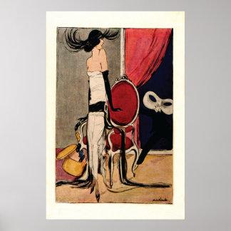 Chica de la aleta de los años 20 del art déco impresiones