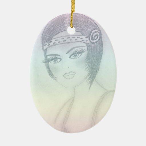 Chica de la aleta de Rainbowed II Ornamentos De Reyes Magos