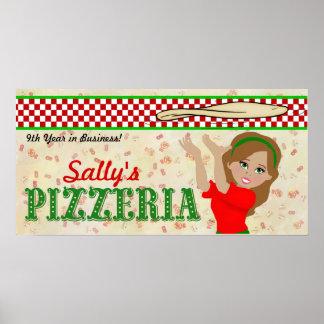 Chica de la bandera de la pizza póster