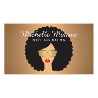 Chica de la belleza del salón de pelo con Afro en Tarjetas De Visita