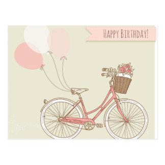 Chica de la bicicleta del feliz cumpleaños tarjetas postales