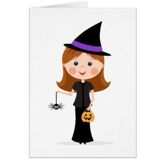 Chica de la bruja de Halloween con la araña Tarjeta De Felicitación