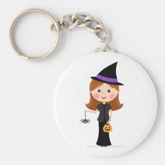 Chica de la bruja de Halloween con llavero de la a