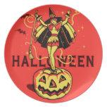 Chica de la bruja de Halloween (vintage) Plato Para Fiesta