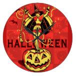 Chica de la bruja de Halloween (vintage) Reloj Redondo Grande