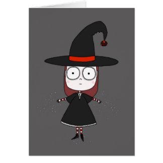 Chica de la bruja tarjeta de felicitación