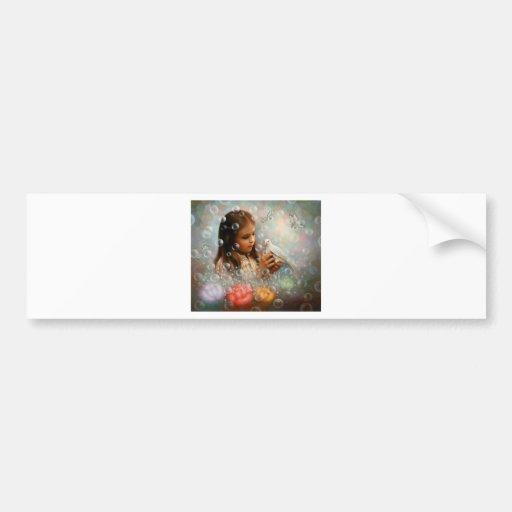 Chica de la burbuja de jabón pegatina de parachoque