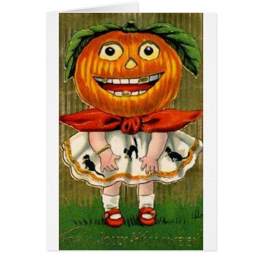 Chica de la cabeza de la calabaza de Halloween del Tarjetas