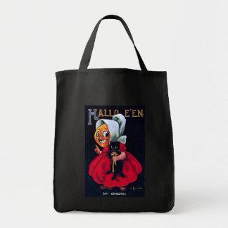 Chica de la calabaza bolsa tela para la compra