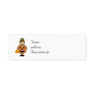 Chica de la calabaza de Halloween Etiqueta De Remitente