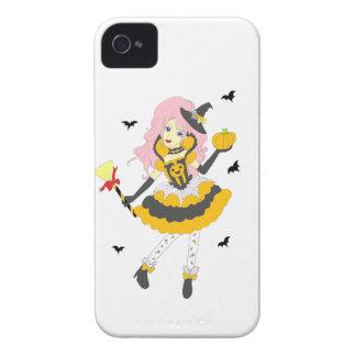 Chica de la calabaza del feliz Halloween Case-Mate iPhone 4 Carcasas