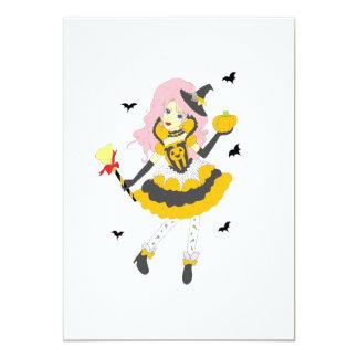 Chica de la calabaza del feliz Halloween Invitación 12,7 X 17,8 Cm