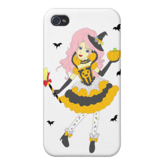 Chica de la calabaza del feliz Halloween iPhone 4/4S Carcasa