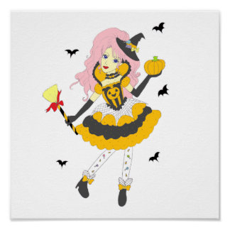 Chica de la calabaza del feliz Halloween Poster