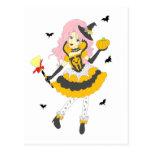 Chica de la calabaza del feliz Halloween Postal