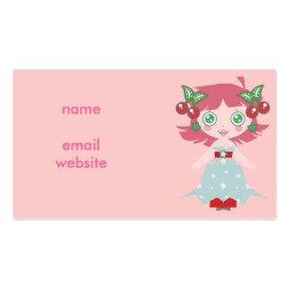 Chica de la cereza de la estrella tarjetas de visita