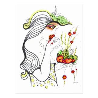 Chica de la cereza tarjeta postal