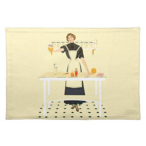 Chica de la cocina del vintage mantel individual