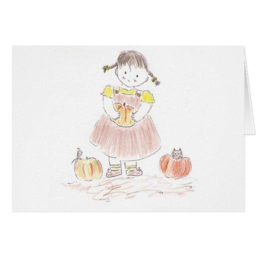 Chica de la cosecha tarjeta de felicitación