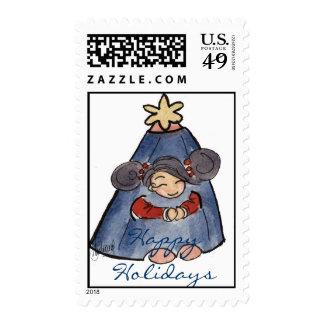 Chica de la decoración de Navidad (sello)