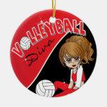 Chica de la diva del voleibol adorno redondo de cerámica