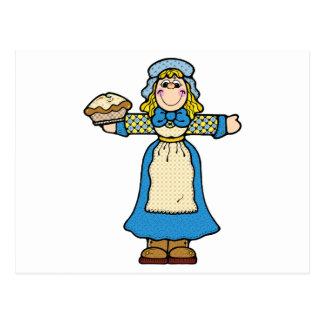 chica de la empanada del peregrino tarjeta postal