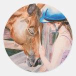 Chica de la equitación y pegatina animal del amant