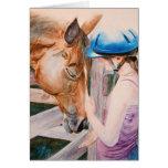 Chica de la equitación y su amante del animal del  felicitación