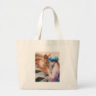 Chica de la equitación y tote animal del amante de bolsa