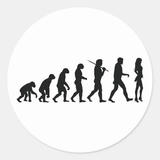Chica de la evolución pegatina redonda