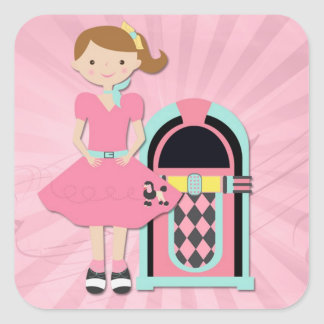Chica de la falda del caniche, máquina tocadiscos calcomania cuadradas personalizadas