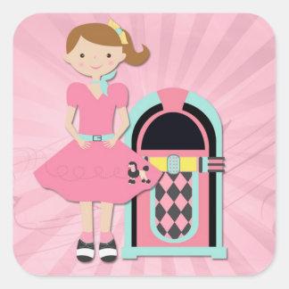 Chica de la falda del caniche, máquina tocadiscos pegatina cuadrada